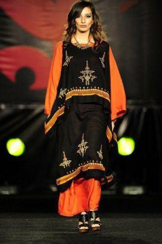 robe classique noir et orange