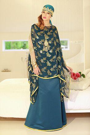 robe chaoui tendance bleu vert